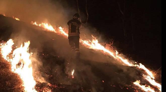 pompieri notte bosco peglio