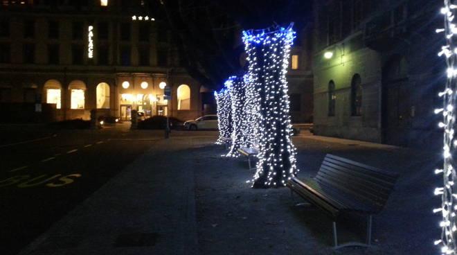 Piazza Roma a Como: ecco gli alberi illuminati per i Balocchi