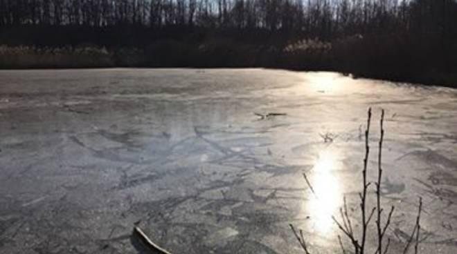 laghetto oasi di Albate ghiacciato per freddo