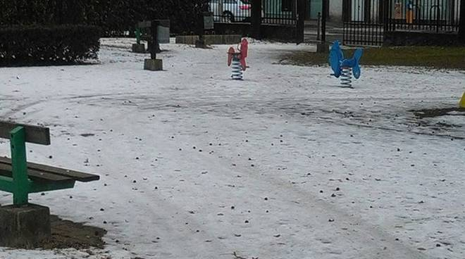 parco di albate con ghiaccio e neve