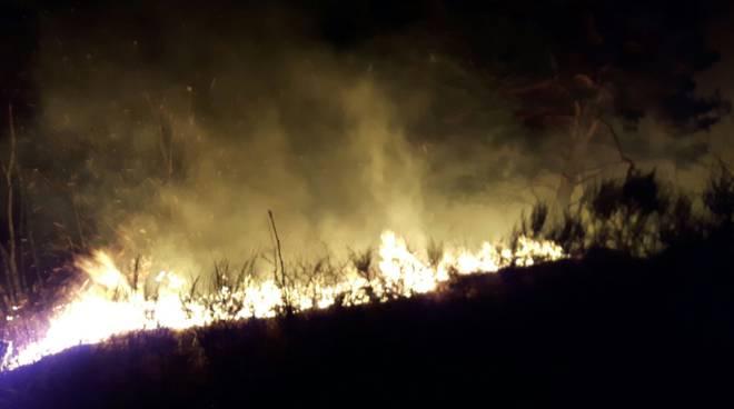 Bruciàno i boschi in àlto lago: sospetto piromane