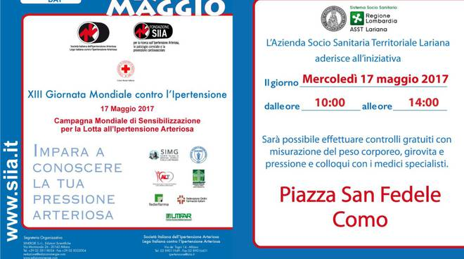 Domani giornata mondiale contro l'ipertensione arteriosa