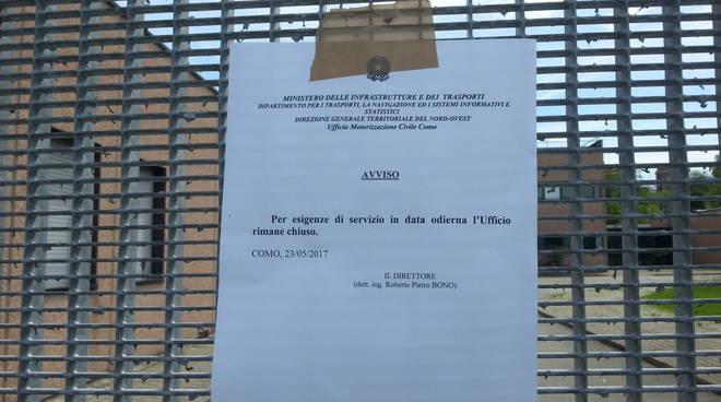 Scandalo patenti, chiusa tutto ilo giorno la Motorizzazione di Como