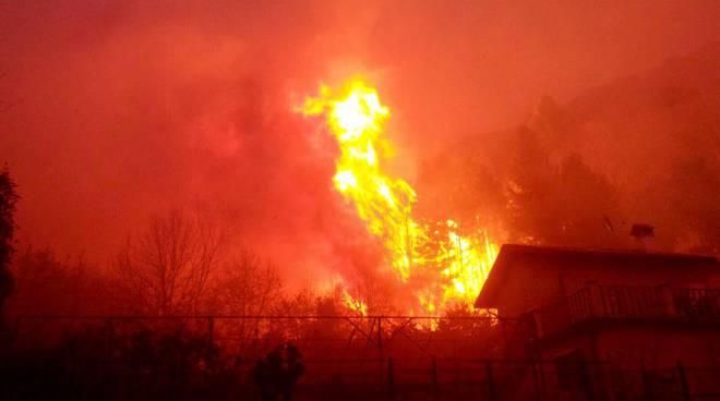 incendio veleso vicino alle case, fuoco vicino a case