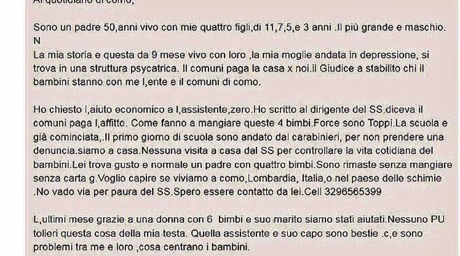 lettera papà marocchino a la provincia per chiedere aiuto