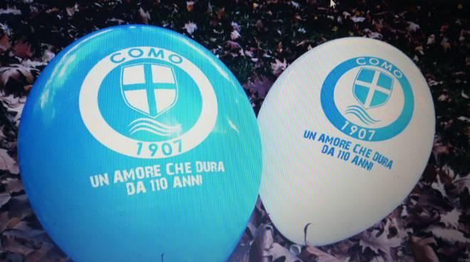 palloncini per tifosi del como in distribuzione per domenica prossima stadio