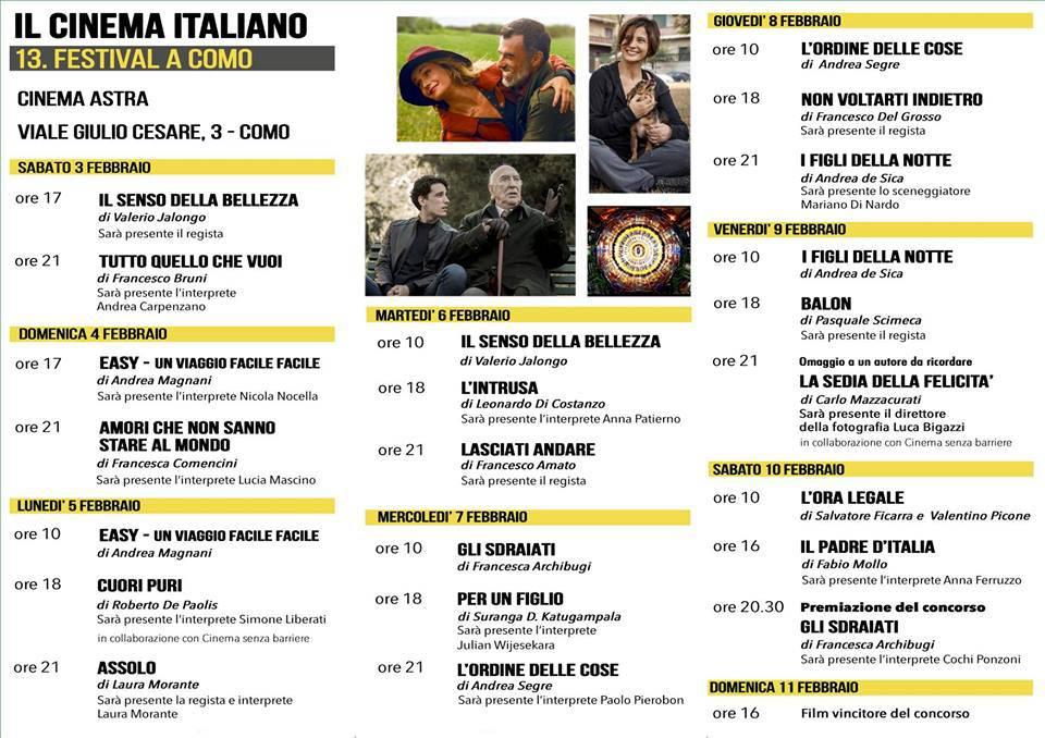 programma del festival del cinema di como 2018