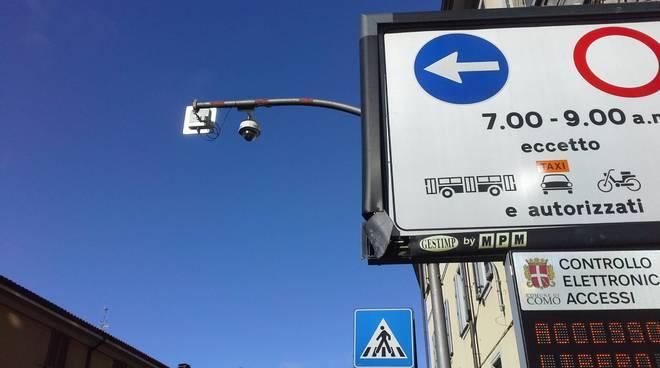 via milano como telecamera per rilevare ingresso, cartello con limitazione