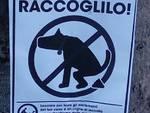 cartelli invito ai padroni dei cani di raccogliere escrementi via leoni como su alberi