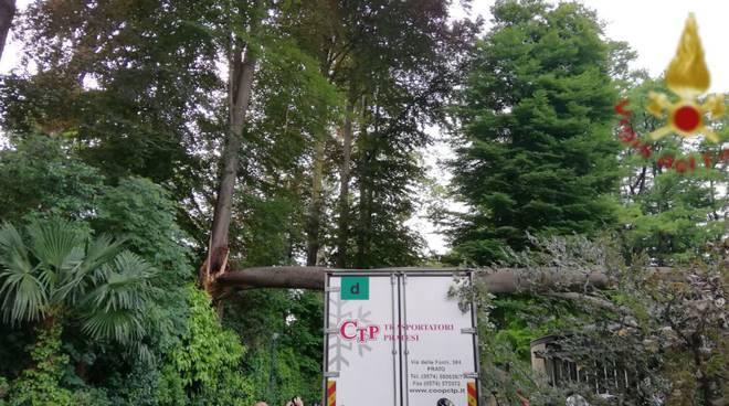 cernobbio albero cade su camion in mezzo al parco di villa erba
