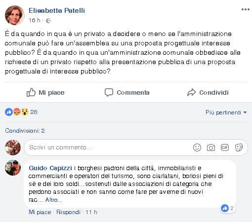Elisabetta patelli post su facebook contro riunione annullata per parcheggio viale varese
