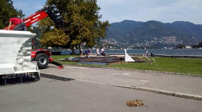 allestimento giardini a lago per riprese film di netflix tempio voltiano
