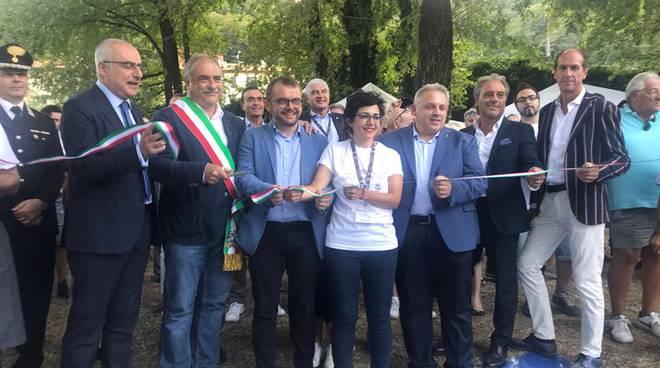 sant'abbondio 2018, cerimonia di inaugurazione taglio del nastro sindaco e rossotti