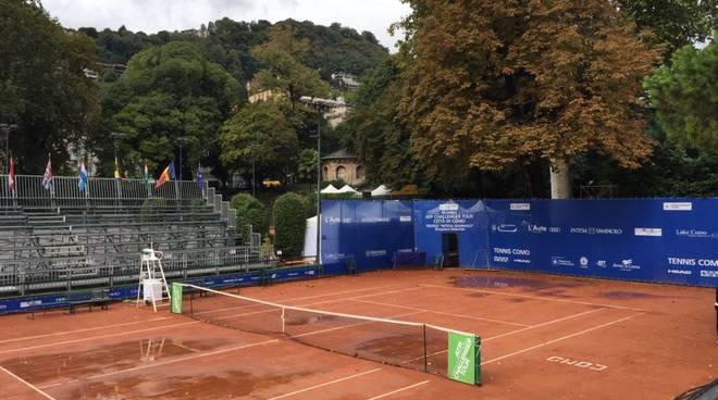 campi allagati al tennis como per challenger 2018