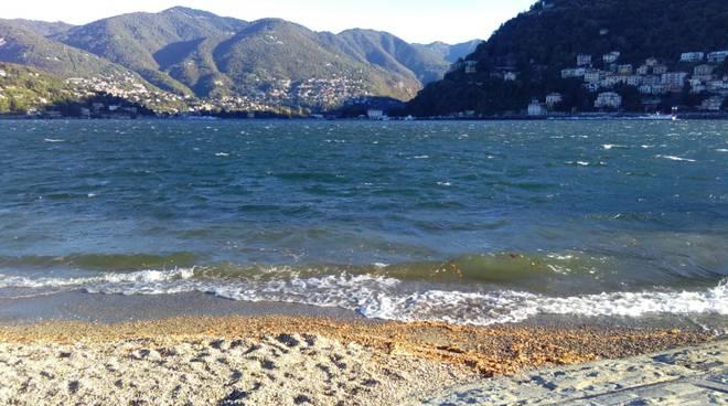 forte vento a como per il risveglio, albero caduto sul lungolago ed onde lago