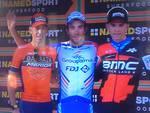 giro di Lombardia 2018, il podio sul lungolago di como e nibali in primo piano