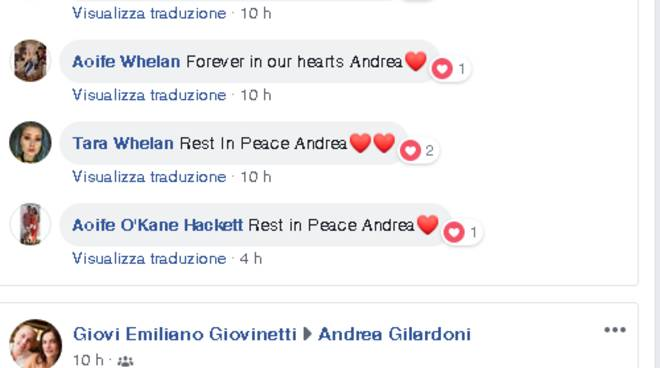 pagina facebook andrea gilardoni morto incidente in valtellina