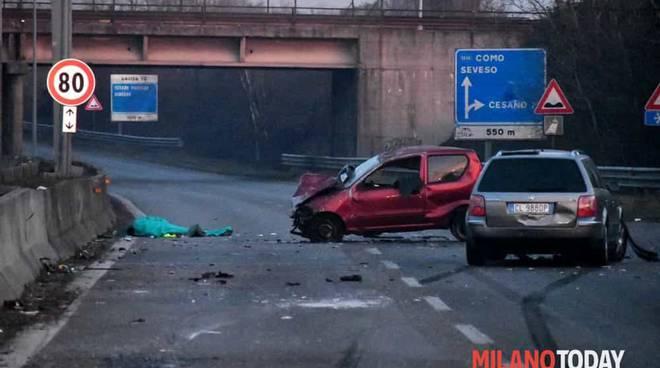 incidente mortale sulla milano meda muore taxista comasco investito