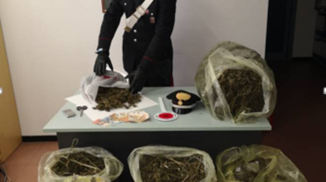 sequestro 13 chili droga carabinieri a montorfano garage