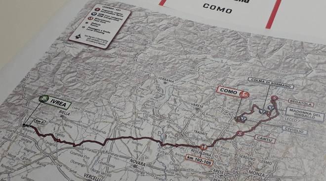 presentazxione tracciato giro d'italia a como tappa 26 maggio altimetri e planimetria
