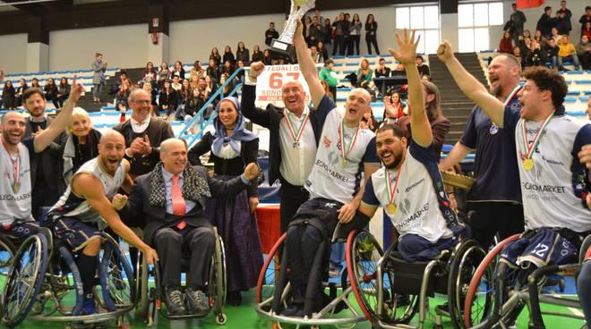 unipolsai vince coppa italia di basket in carrozzina premiazioni e festeggiamenti