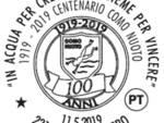 annullo postale comonuoto per i 100 anni