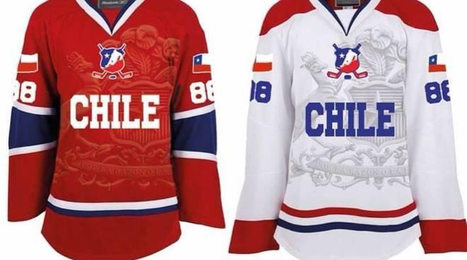 maglia nazionale del cile di hockey su ghiaccio per i fratelli ambrosoli