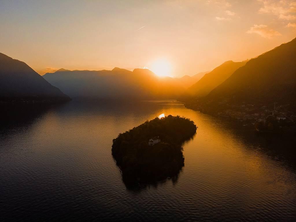 tramonto isola comacina foto mattia verdolin