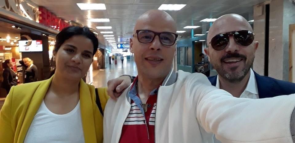 azouz marzouk in italia arrivo aereoporto coin la moglie