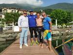 master della comonuoto accompagnano giorgio riva giro del lago di como a nuoto partenza ed arrivo oggi