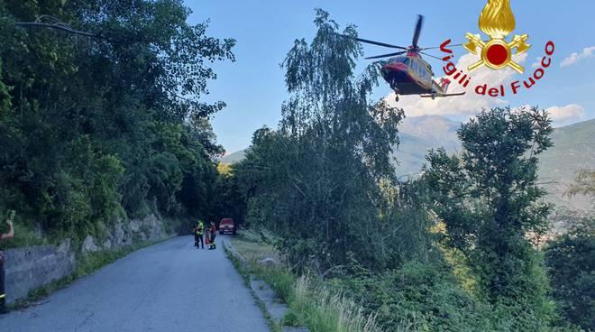san siro volo con la moto fuori strada soccorso dai pompieri località treccione