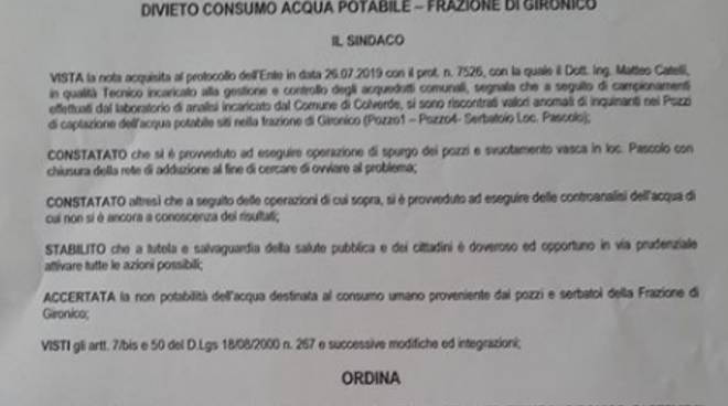 ordinanza sindaco colverde per vietare uso acqua in cucina per inquinamento