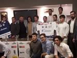 presentazione hockey como bar 44 con presidente e squadra