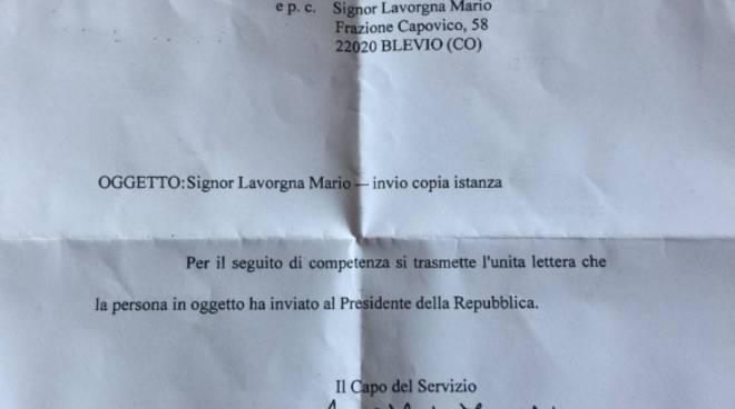 lettera al presidente Mattarella da parte di Mario Lavorgna per box auto ostuyito blevio capovico
