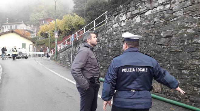 frana rovenna di cernobbio, il sindaco monti e polizia locale sul posto