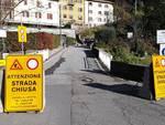 sindaco cernobbio e disagi a rovenna per la frana immagini zona e cartelli strada chiusa