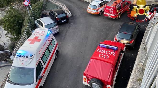 pensionato ferito sentiero moltrasio soccorso del personale 118 e pompieri
