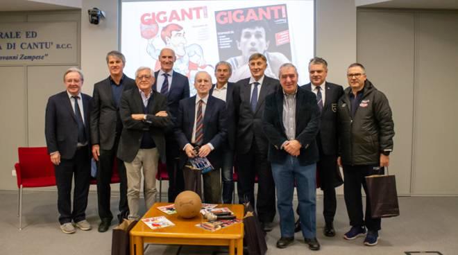 serata per presentare numero speciale giganti del basket a cantù con riva e marzorati