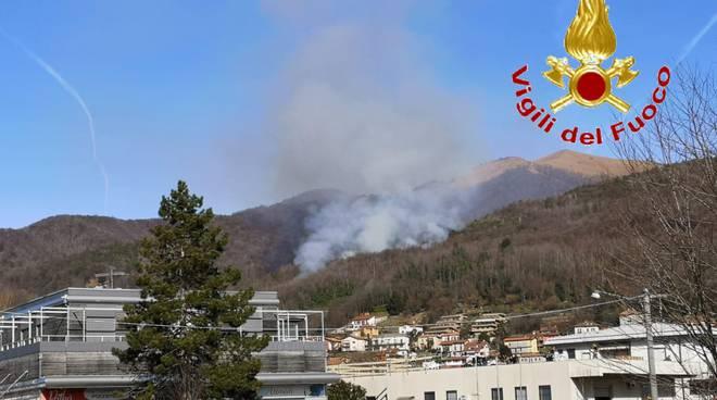 incendio bosco a tavernerio, colonna fumo sopra il paese
