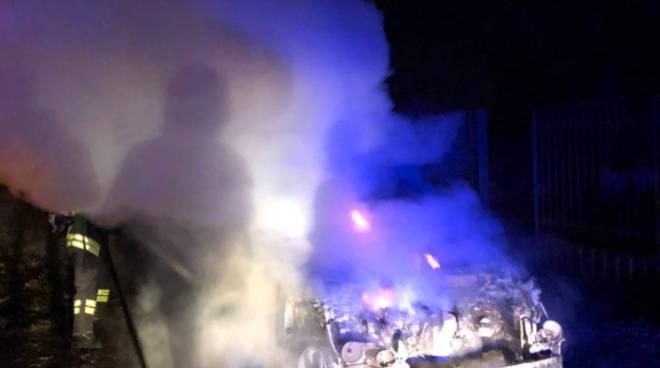 intevento dei pompieri a ronago località ronco incendio bosco