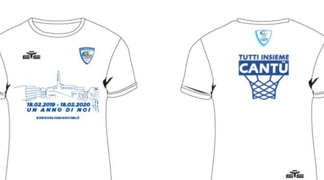 t shirt celebrative pallacanestro cantù per giornata orgoglio biancoblù