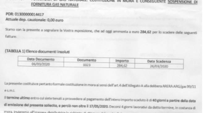 emergenza coronavirus lettera sollecito metano nord per pagamento bolletta a famiglia