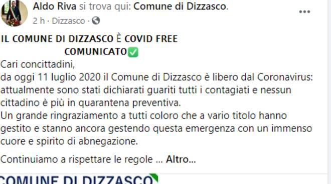 sindaco dizzasco riva su facebook annuncia covid free dopo oltre 200 casi