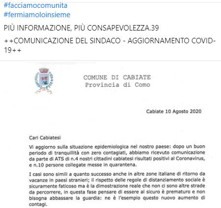 sindaco cabiate post per allerta coronavirus