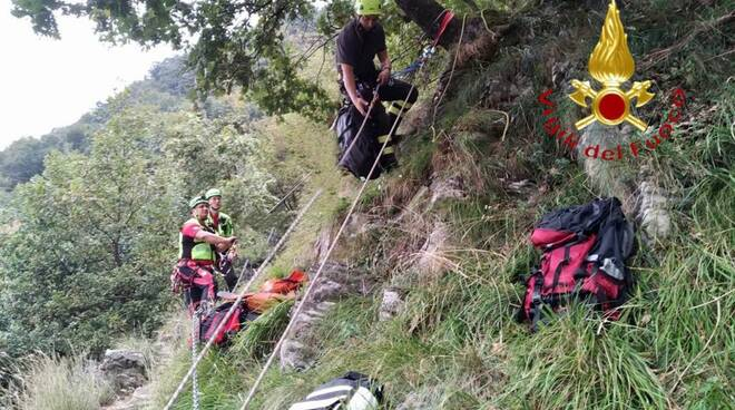 soccorso pompieri ragazza caduta da una ferrata a rovenna di cernobbio