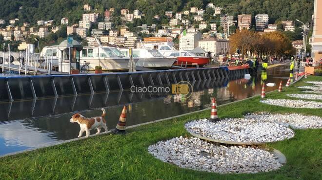 esondazione del lago di como, lavori di contenimento acqua e barriere
