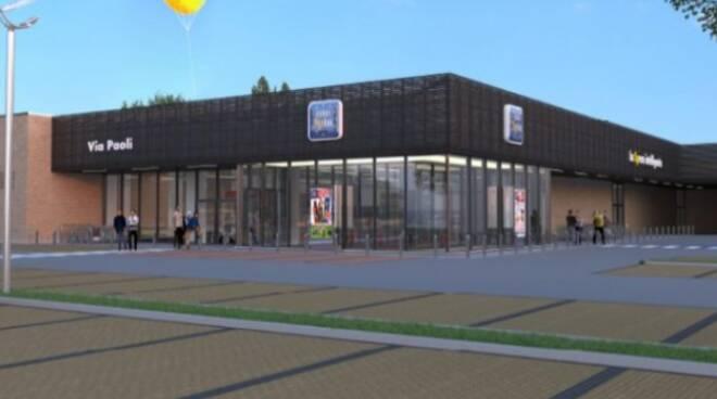 rendering nuovo supermercato eurospin di via paoli camerlata