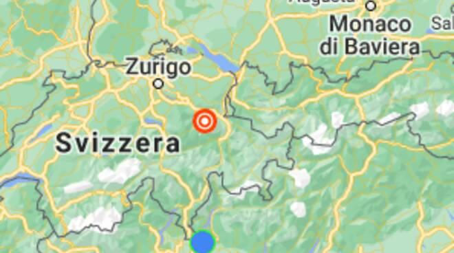 scossa di terremoto questa sera in svizzera cartina