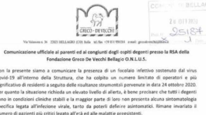 sindaco bellaguo e Rsa annunciano positività degenti covid