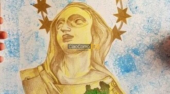 disegno bambina di albese con madonnina milano e cuore della regione